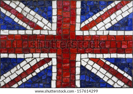 Old mosaic flag of great britain or united kingdom close up - stock photo