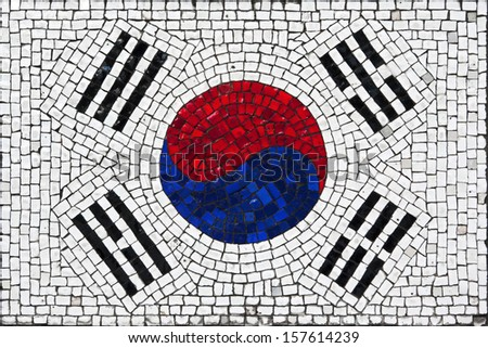 Old mosaic flag of South Korea close up - stock photo