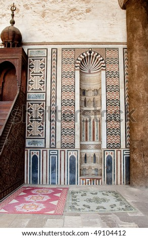 Old mosque in the Citadel in Cairo in Egypt with the decorated mosaics facing Mecca