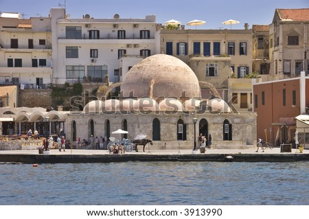 Old mosque in the venetian port of Chania, Crete island, Greece - stock photo