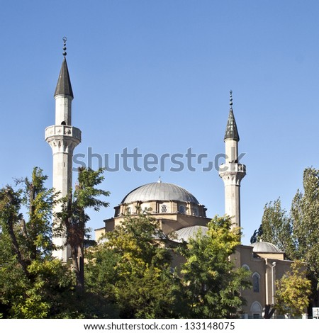 Old mosque with minarets - stock photo
