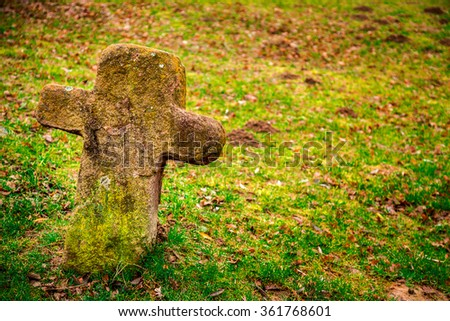 Old Mossy Cross Graveyard Cemetery - stock photo