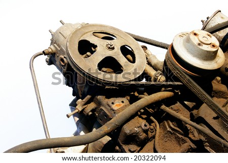 old motor isolated over white - stock photo