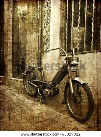 old motorbike - stock photo