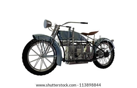 old motorcycle isolated on white background