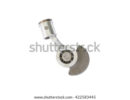 Old motorcycle piston and rod on white background - stock photo