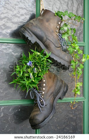 Old mountain boots used as flower pots on the entrance door of a house - stock photo