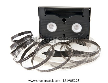 old movie film is isolated on a white background
