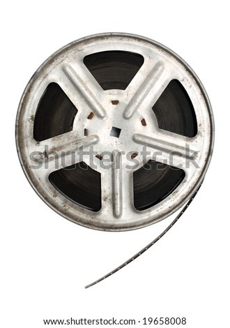old movie film on metal reel isolated on white - stock photo