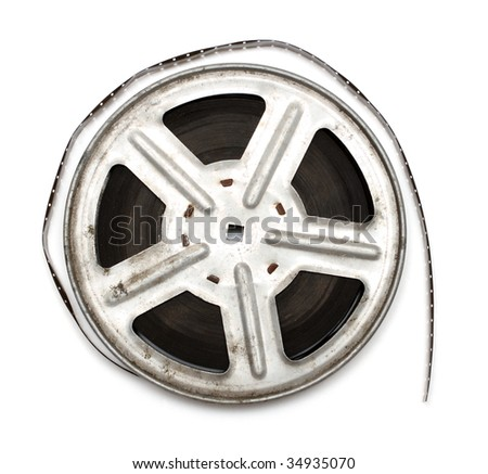 old movie film on metal reel isolated on white