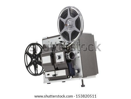 Old movie film projector isolated with clipping path.  - stock photo