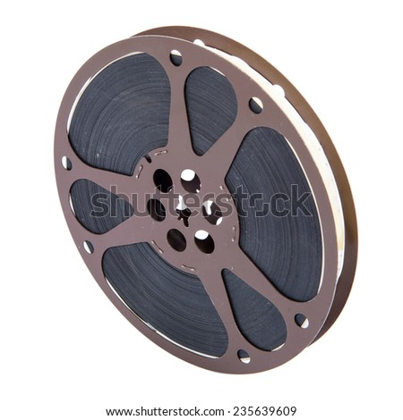 old movie film reel 16mm on the white background - stock photo