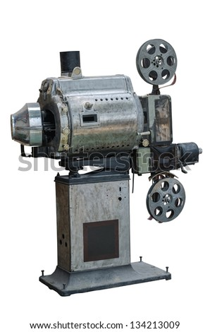 old movie projector on a white background - stock photo