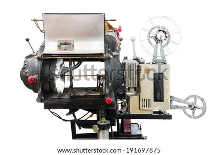 Old movie projector on isolated - stock photo
