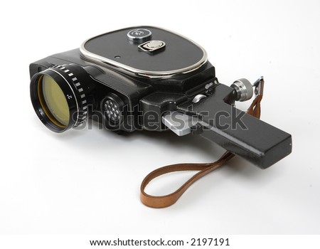 old movies camera isolated on a white background