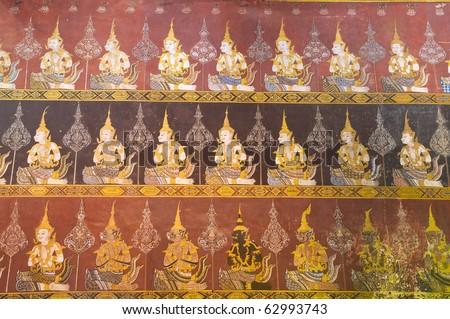 old mural at Wat Mahathat Woravihara phetchaburi Thailand - stock photo