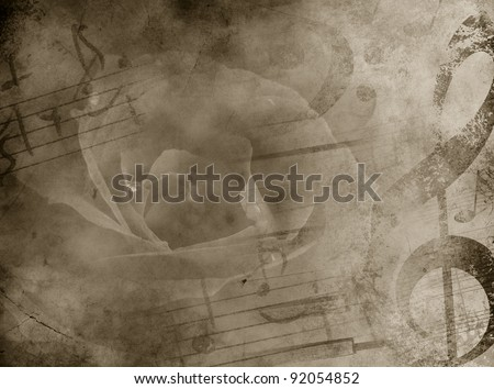 Old music background with rose. Vintage background. - stock photo