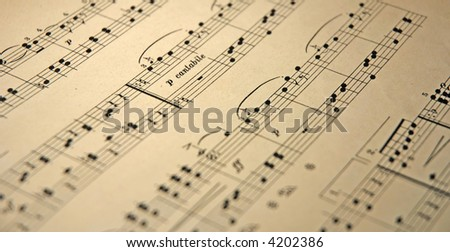 old music notes - stock photo