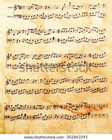 Old music sheet, closeup - stock photo