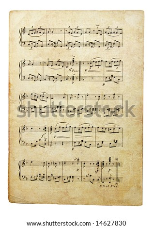 old musical note' page - stock photo
