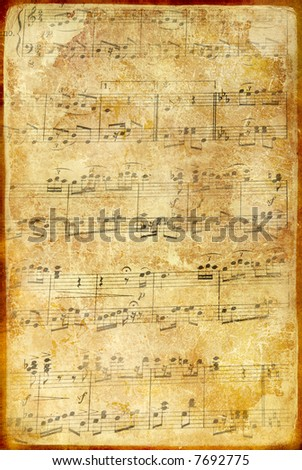 old musical page - stock photo