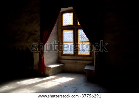 Old mystic window - stock photo