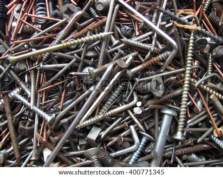 old nail and screw - stock photo