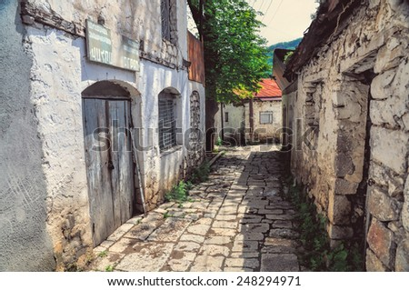 Old narrow street in a town in Nagorno Karabakh