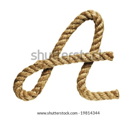 old natural fiber rope bent in the form of letter A - stock photo