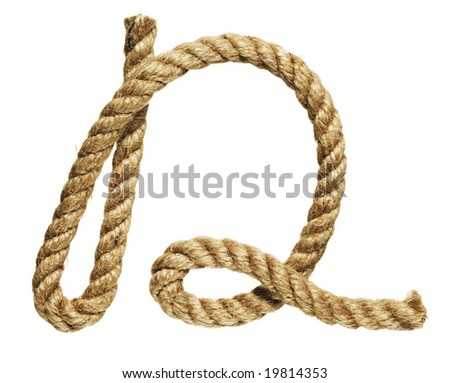 old natural fiber rope bent in the form of letter D - stock photo