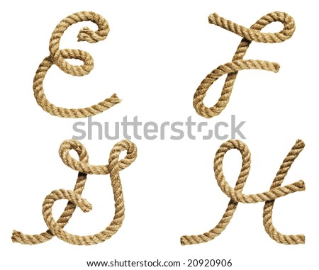 old natural fiber rope bent in the form of letter E, F, G, H