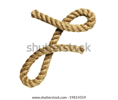 old natural fiber rope bent in the form of letter F - stock photo