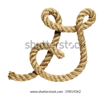 old natural fiber rope bent in the form of letter G - stock photo