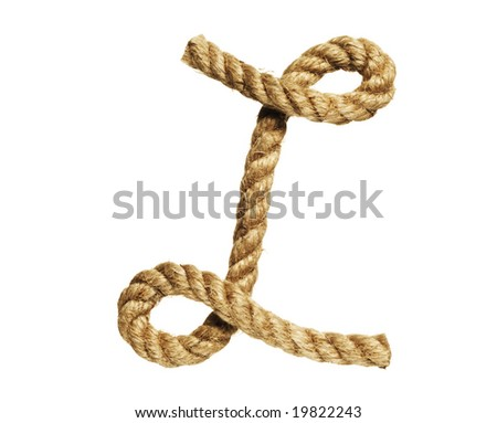 old natural fiber rope bent in the form of letter L - stock photo