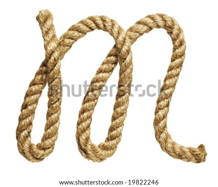 old natural fiber rope bent in the form of letter M - stock photo