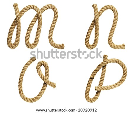 old natural fiber rope bent in the form of letter M, N, O, P - stock photo