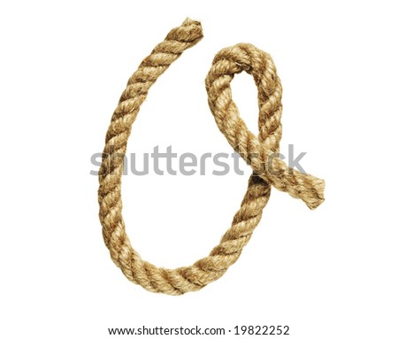 old natural fiber rope bent in the form of letter O - stock photo