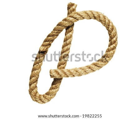old natural fiber rope bent in the form of letter P - stock photo