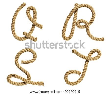 old natural fiber rope bent in the form of letter Q, R, S, T - stock photo