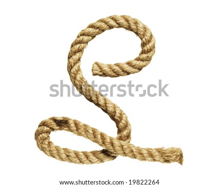 old natural fiber rope bent in the form of letter S - stock photo