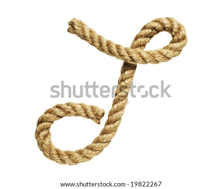old natural fiber rope bent in the form of letter T - stock photo