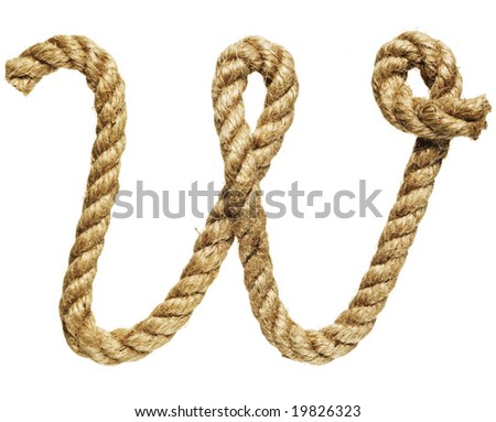 old natural fiber rope bent in the form of letter W - stock photo