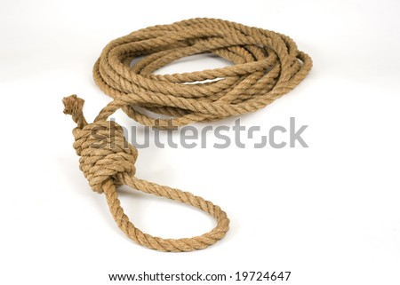Old natural hemp rope tied into a hangman's noose on white. - stock photo