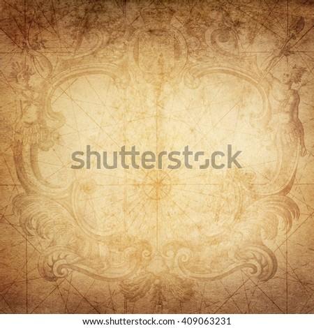 old nautical treasure map background - stock photo