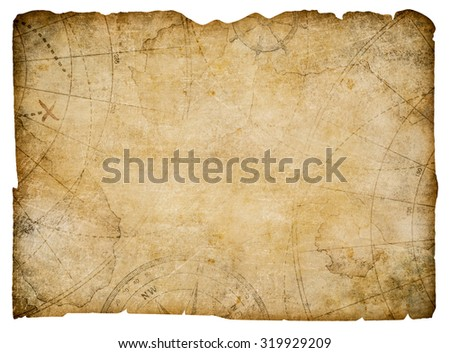 old nautical treasure map isolated on white - stock photo