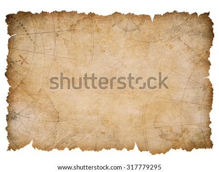 old nautical treasure map with torn edges isolated - stock photo