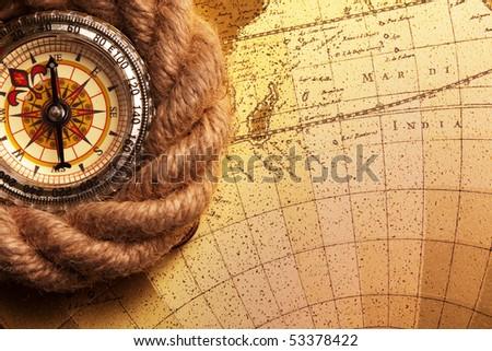 Old navigation instruments - stock photo