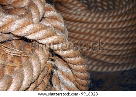 old navy coiled rope on the deck