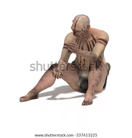 Old neanderthal producing stone tool - stock photo
