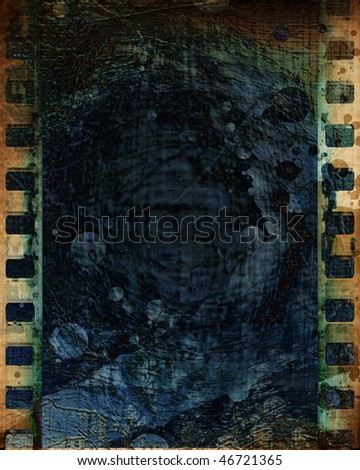 old negative film strip with some stains on it - stock photo